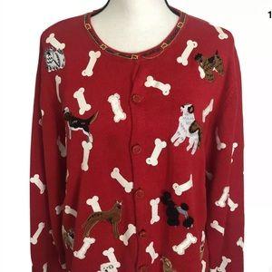 Berek red dog bone cardigan XL embellished